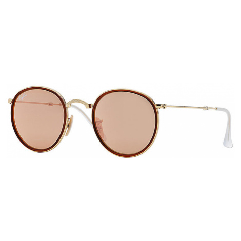 Ray-Ban Round folding Unisex Sunglasses Lenses: Pink, Frame: Gold - RB3517 001/Z2 51-22