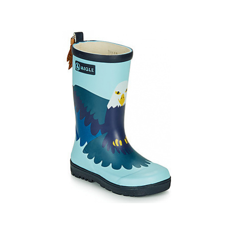 Aigle WOODYPOP FUN girls's Children's Wellington Boots in Blue
