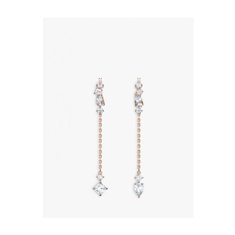 Swarovski Attract Crystal Chain Drop Hoop Earrings, Rose Gold