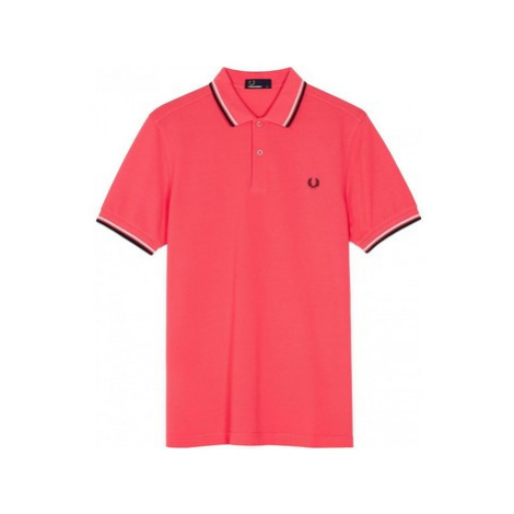 Fred Perry Twin Tipped Polo Calypso Coral men's Polo shirt in Pink