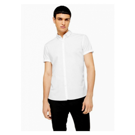 Mens White Slim Fit Smart Short Sleeve Shirt, White Topman