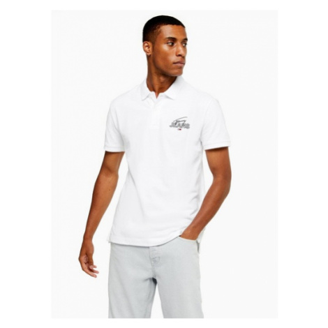 Mens Tommy Jeans White Signature Graphic Polo, White Tommy Hilfiger