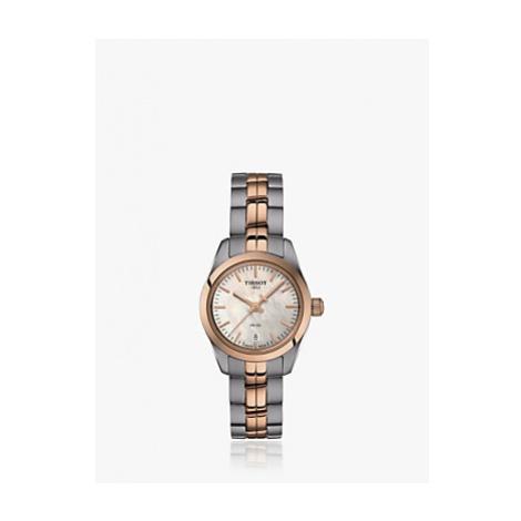 Tissot T1010102211101 Women's PR 100 Date Bracelet Strap Watch, Silver/Rose Gold