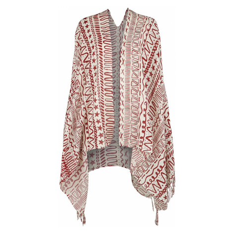 RED by EMP Sport and Yoga - Poncho in Burgundy/White with Allover Print Poncho bordeaux white