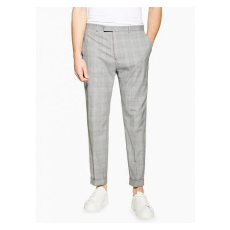 Mens Grey Premium Check Slim Fit Suit Trousers, Grey Topman