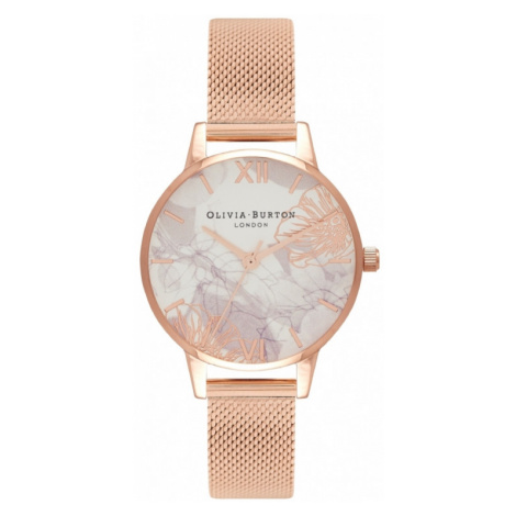 Ladies Olivia Burton Abstract Florals Rose Gold Mesh Watch OB16VM11