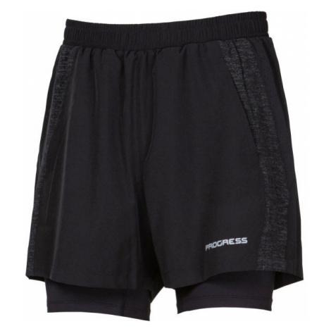 Progress FELIS black - Men's running shorts 2in1