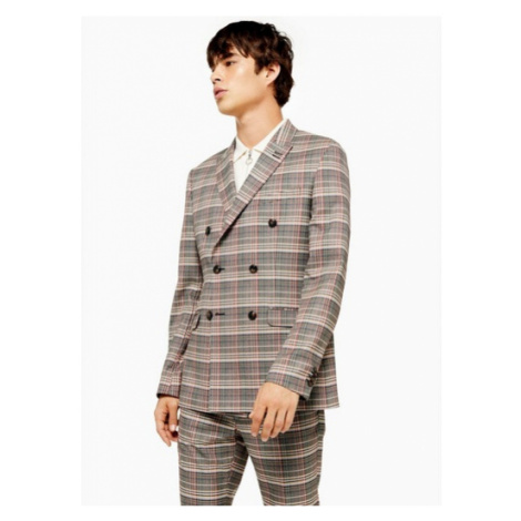 Mens Grey And Red Check Skinny Fit Double Breasted Suit Blazer Wth Peak Lapels, Grey Topman