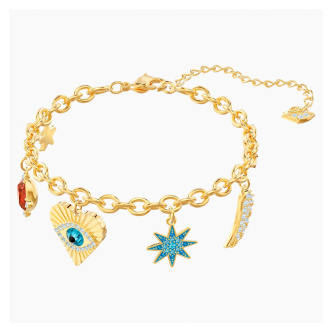 Lucky Goddess Charms Bracelet, Multi-coloured, Gold-tone plated Swarovski