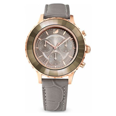 Octea Lux Chrono Watch, Leather strap, Grey, Rose-gold tone PVD Swarovski