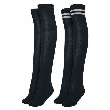 Urban Classics - Ladies Overknee Socks 2-Pack - Overknees - black/black-grey
