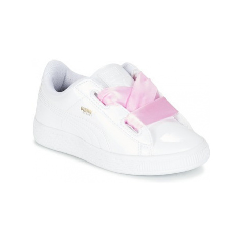 Puma BASKET HEART PATENT PS girls's Children's Shoes (Trainers) in White