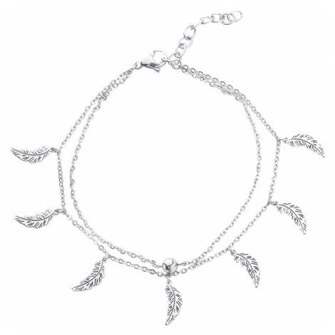 Wildcat - Feathers Multilayer Ankle Chain - Ankle chain - silver-coloured