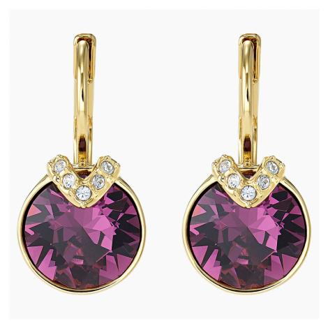Bella V Pierced Earrings, Purple, Gold-tone plated Swarovski