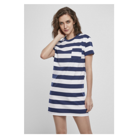 Urban Classics Ladies Stripe Boxy Tee Dress darkblue/white