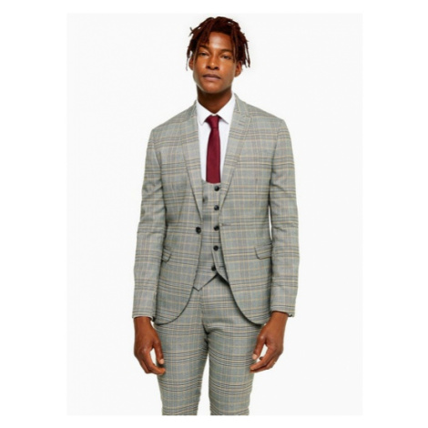 Mens Grey Stone Check Skinny Fit Single Breasted Suit Blazer With Peak Lapels, Grey Topman