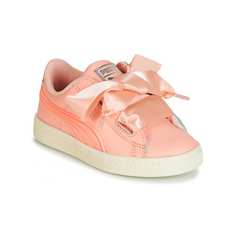 Puma PS BASKET HEART JELLY.PEAC girls's Children's Shoes (Trainers) in Pink