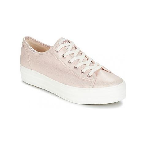 Keds TRIPLE KICK METALLIC LINEN women's Shoes (Trainers) in Pink