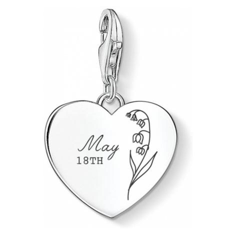 THOMAS SABO Charm Club Silver May Birth Flower & Date Heart Charm