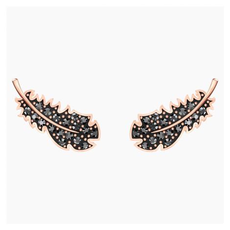 Naughty Pierced Earrings, Black, Rose-gold tone plated Swarovski