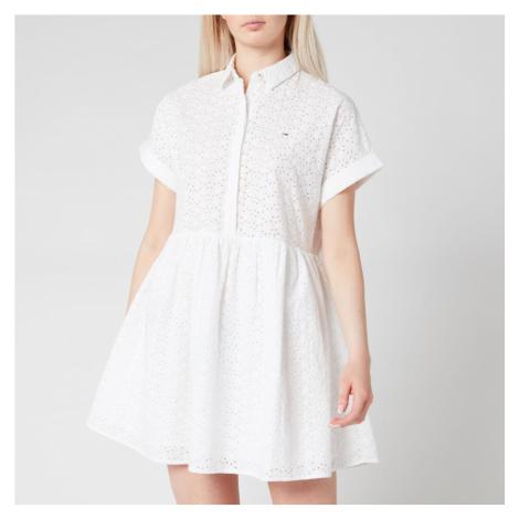 Tommy Jeans Women's TJW Shiffli Shirt Dress - White Tommy Hilfiger
