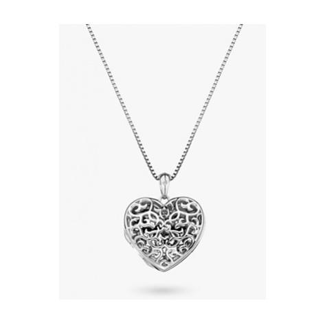 Hot Diamonds Small Heart Filigree Locket Pendant Necklace, Silver