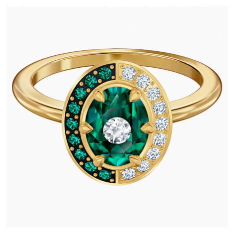 Black Baroque Motif Ring, Green, Gold-tone plated Swarovski