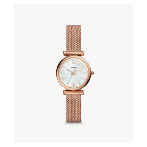 Fossil Women's Carlie Mini Three-Hand Rose Gold-Tone Stainless Steel Watch