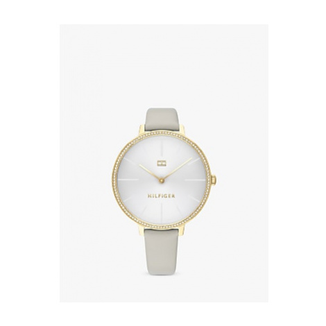 Tommy Hilfiger 1782110 Women's Crystal Leather Strap Watch, Grey/Silver