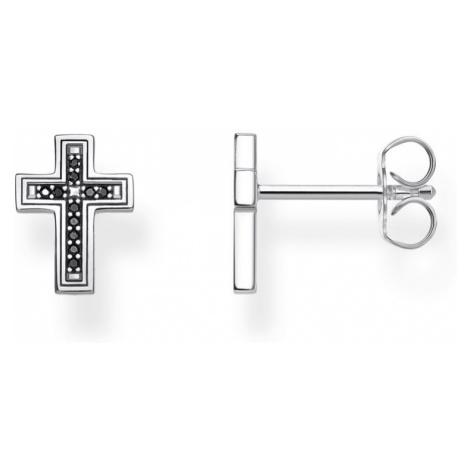 THOMAS SABO Silver Black Cross Stud Earrings
