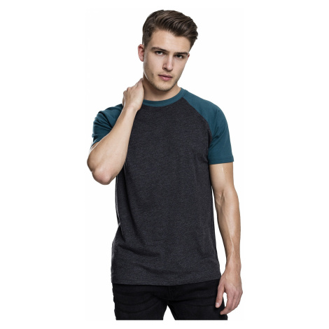 T-Shirt Urban Classics Raglan Contrast/TB639 - Charcoal/Teal - men´s