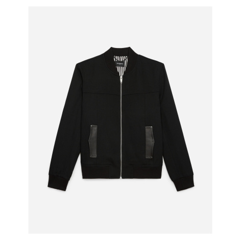 The Kooples - Zipped black wool jacket with leather pockets - MEN