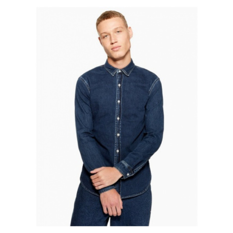 Mens Blue Indigo Stretch Stretch Skinny Denim Shirt, Blue Topman