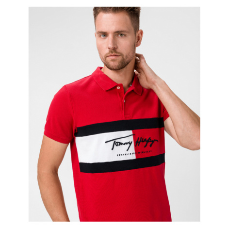 Tommy Hilfiger Autograph Flag Polo T-shirt Red