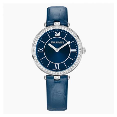Aila Dressy Lady Watch, Leather strap, Blue, Stainless steel Swarovski