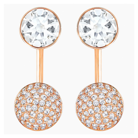 Forward Pierced Earring Jackets, White, Rose-gold tone plated Swarovski