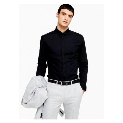 Mens Black Slim Fit Long Sleeve Shirt, Black Topman