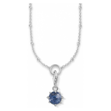 THOMAS SABO Silver Sodalite September Birthstone Charm Necklace