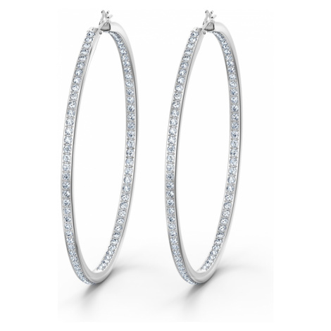 Rare Hoop Pierced Earrings, White, Rhodium plated Swarovski