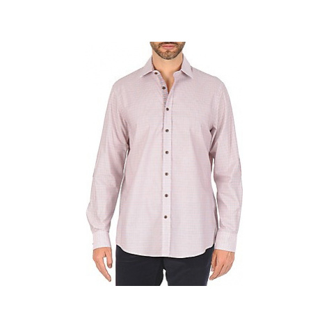 Hackett MULTI MINI GRID CHECK men's Long sleeved Shirt in Pink