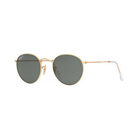 Ray-Ban RB3447 Polarised Round Sunglasses, Gold/Dark Green