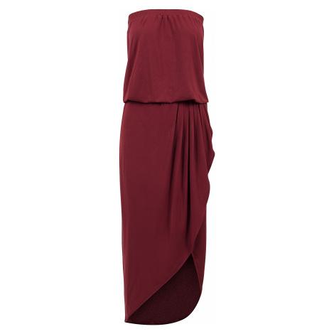 Urban Classics - Ladies Viscose Bandeau Dress - Dress - burgundy