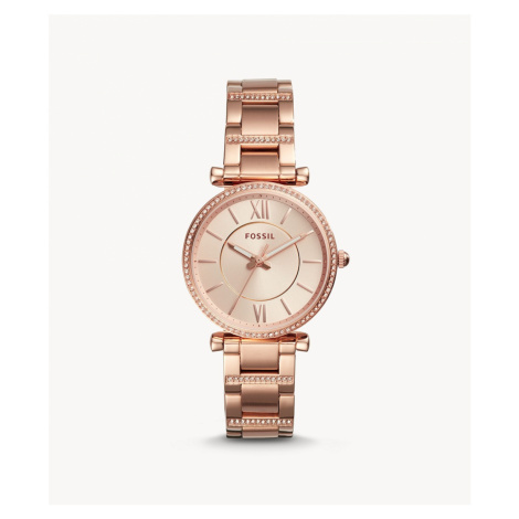 Fossil Women's Carlie Three-Hand Rose-Gold-Tone Stainless Steel Watch