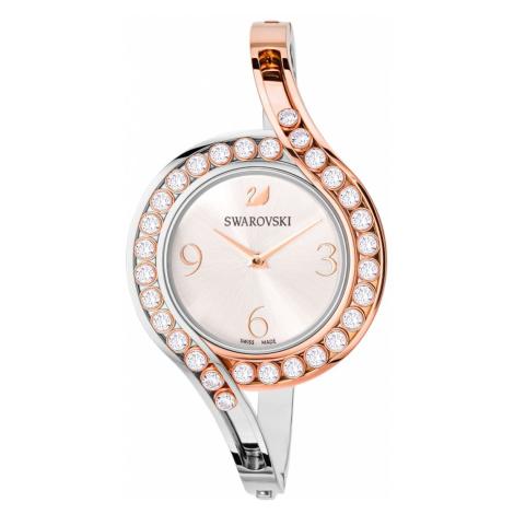 Lovely Crystals Bangle Watch, Metal bracelet, White, Bicolor PVD Swarovski
