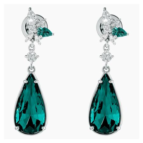 Botanical Pierced Earrings, Green, Rhodium plated Swarovski