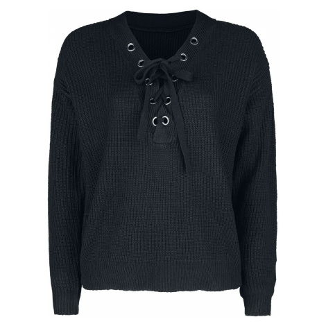 Forplay Knitted Front Laced Sweater Knit jumper black