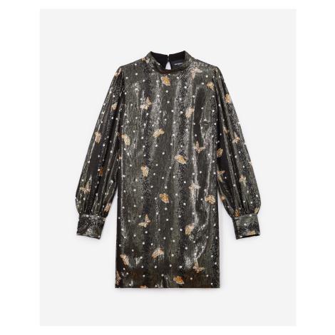 The Kooples - Short silk dress, lamé, w/butterfly motif - WOMEN