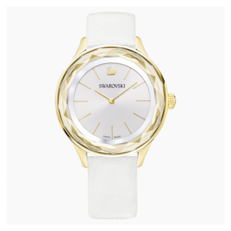 Octea Nova Watch, Leather strap, White, Gold-tone PVD Swarovski