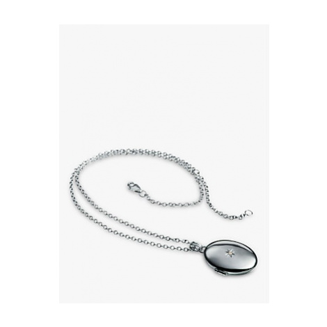 Hot Diamonds Oval Inheritance Locket Pendant Necklace, Silver