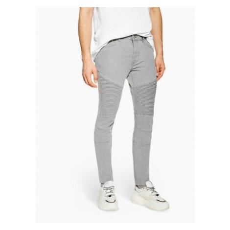 Mens Grey Panel Skinny Biker Jeans, Grey Topman